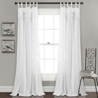 Lush Decor Lydia Ruffle 84-Inch Tie Tab Window Curtain Panel Pair in White