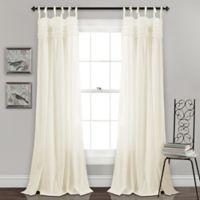Lush Decor Lydia Ruffle 84-Inch Tie Tab Window Curtain Panel Pair in Ivory