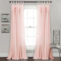 Lush Decor Lydia Ruffle 84-Inch Tie Tab Window Curtain Panel Pair in Blush