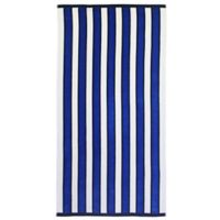 Caro Home Caret Stripe Beach Towel in Blue/White