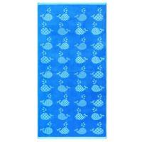 Geometric Whales Velour Beach Towel