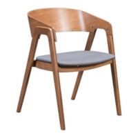 Zuo® Alden Dining Arm Chair in Walnut/Dark Grey (Set of 2)