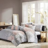 Madison Park Lola King/California King Duvet Cover Set in Grey/Blush