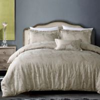 California Design Hotel Paisley 4-Piece King Comforter Set in Champagne