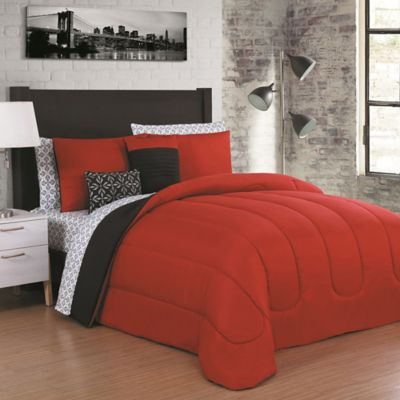 Juliana 9 Piece Queen Comforter Set In Red/Black