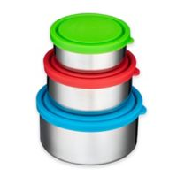 Bruntmor™ TRIO 3-Piece Stainless Steel Round Food Container Set with Multicolor Lids