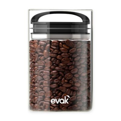 Glass Food Storage Canister In Black