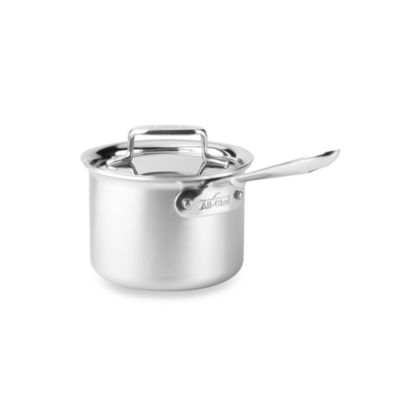 allclad d5 brushed stainless steel 2quart covered saucepan