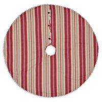 VHC Brands 48-Inch Vintage tripe Mini Christmas Tree Skirt in Red