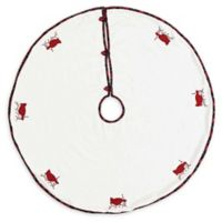 VHC Brands Seasons Greetings Christmas Tree Skirt in White/Red