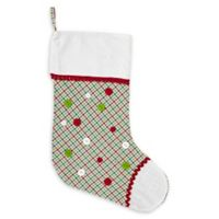 VHC Brands Whimsical Christmas Stocking in White