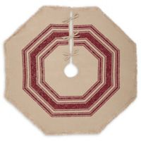 Vintage Burlap 48-Inch Striped Christmas Tree Skirt in Red