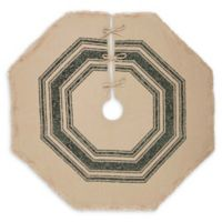 Vintage Burlap 48-Inch Striped Christmas Tree Skirt in Green