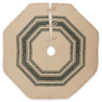 Vintage Burlap 55-Inch Striped Christmas Tree Skirt in Green