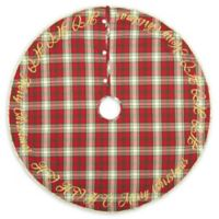 VHC Brands HO HO Holiday 48-Inch Christmas Tree Skirt in Red/Cream