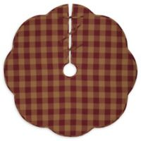 VHC Brands Burgundy Check Scalloped 48-Inch Christmas Tree Skirt in Red/Cream