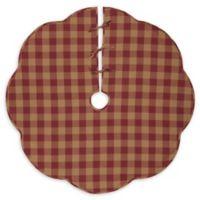 VHC Brands Burgundy Check Scalloped 55-Inch Christmas Tree Skirt in Red/Cream