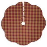VHC Brands Burgundy Check Scalloped 60-Inch Christmas Tree Skirt in Red/Cream