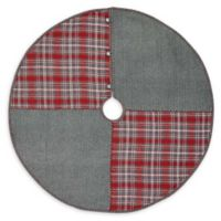 VHC Brands Anderson Patchwork 48-Inch Christmas Tree Skirt in Red/Grey