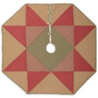 VHC Brands Dolly Star 48-Inch Christmas Tree Skirt in Red/Tan
