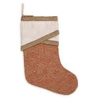 VHC Brands Soleil 15-Inch Christmas Stocking in Red/Gold