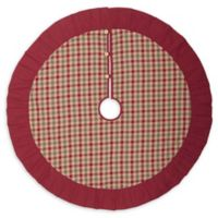 VHC Brands Jonathan Plaid 48-Inch Christmas Tree Skirt in Red/Cream