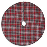 48-Inch Anderson Plaid Christmas Tree Skirt in Grey/Red