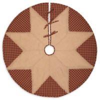 48-Inch Check Star Christmas Tree Skirt in Burgundy