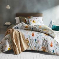 Brigita Floral Reversible King Comforter Set in White/Grey