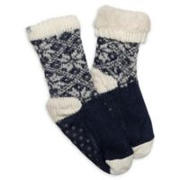 Ed Ellen Degeneres Women's Fairisle Socks with Grippers in Navy/Oatmeal