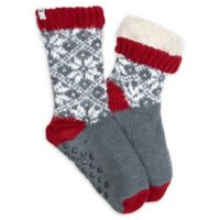 Ed Ellen Degeneres Women's Fairisle Socks with Grippers in Grey/Red