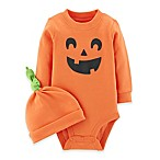carter's® Newborn 2-Piece Jack-O-Lantern Bodysuit and Cap Set in Orange
