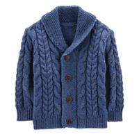 OshKosh B'gosh® Size 6-9M Cable Knit Cardigan in Navy