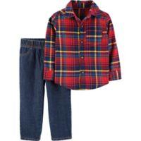 carter's® Size 24M 2-Piece Plaid Shirt and Denim Pants Set