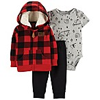 carter's® Newborn 3-Piece Buffalo Check Cardigan Set in Red
