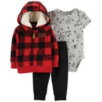 carter's® Size 3M 3-Piece Buffalo Check Cardigan Set in Red