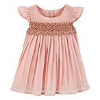 OshKosh B'gosh® Size 6-9M 2-Piece Pleated Lace Dress and Diaper Cover Set in Blush