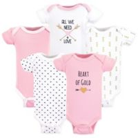 Hudson Baby Preemie Heart Bodysuits in Pink (Set of 5)