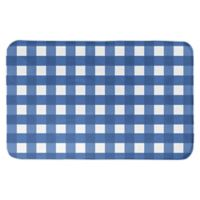 "Designs Direct 34"" x 21"" Hanukkah Buffalo Check Bath Mat in Blue"