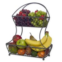 Gourmet Basics by Mikasa® Loop and Lattice 2-Tier Flat Back Fruit Basket in Vintage Grey