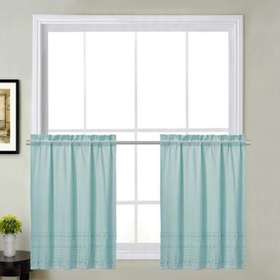 Sophia Kitchen 36 Inch Window Curtain Tier Pair In Mineral Blue