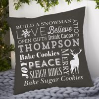 Personalized Holiday Traditions 14-Inch Throw Pillow