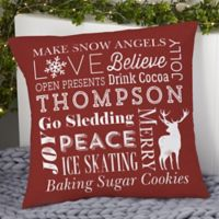 Personalized Holiday Traditions 18-Inch Throw Pillow