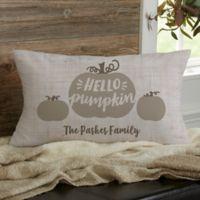 Personalized Hello Pumpkin Lumbar Throw Pillow