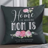 Personalized Home Is Where Mom Is 18-Inch Throw Pillow