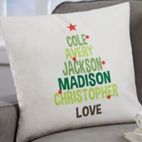 Personalized Christmas Family Tree 18-Inch Throw Pillow