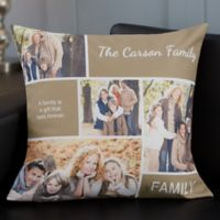 Personalized Family Love Photo Collage 18-Inch Throw Pillow