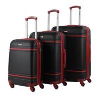 American Sport Plus Varsity 3-Piece Hardside Spinner Luggage Set in Black/Red