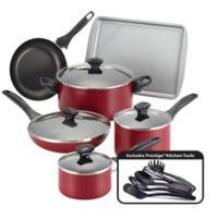 Farberware® Nonstick Aluminum 15-Piece Cookware Set in Red