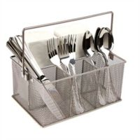Mind Reader 4-Compartment Mutipurpose Mesh Utensil Caddy in Silver